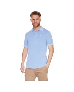 Sky Blue Washed Sports Polo Shirt