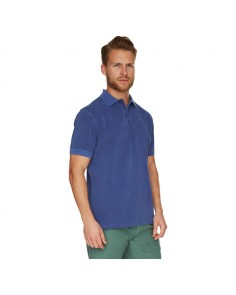 Navy Washed Sports Polo Shirt