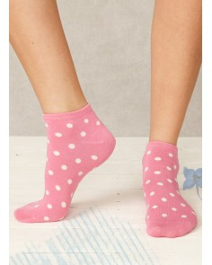 Pink Spotty Bamboo Trainer Sock