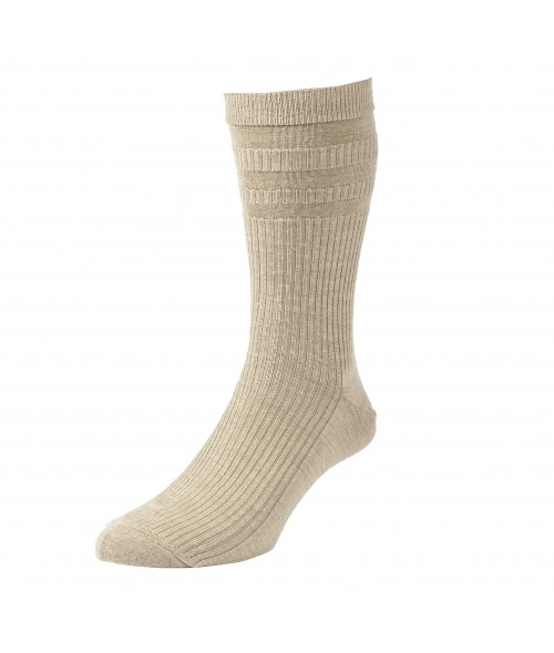 Oatmeal HJ Hall Softop- Wool Rich Socks