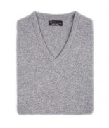Hawick V Neck Pullover- Dove Grey