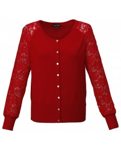Red Lace Sleeved Cardigan