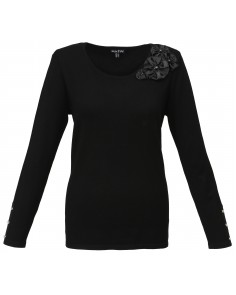 Black Rosette Trim Jumper