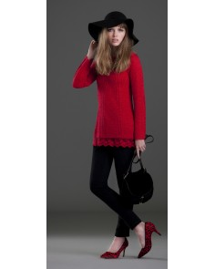 Red Lace Trimmed Jumper