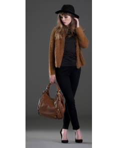 Cognac Fluffy Cardigan