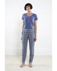 Filigree Print Peg Trousers- Denim