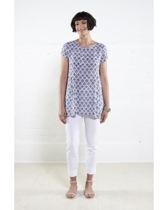 Filigree Drop Side Tunic- White