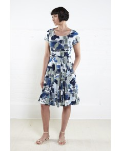St Ives Print Short Sleeve Flare Dress- Fern