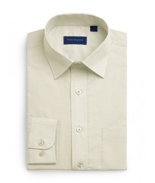 Peter England Plain Non Iron Shirt- Ecru