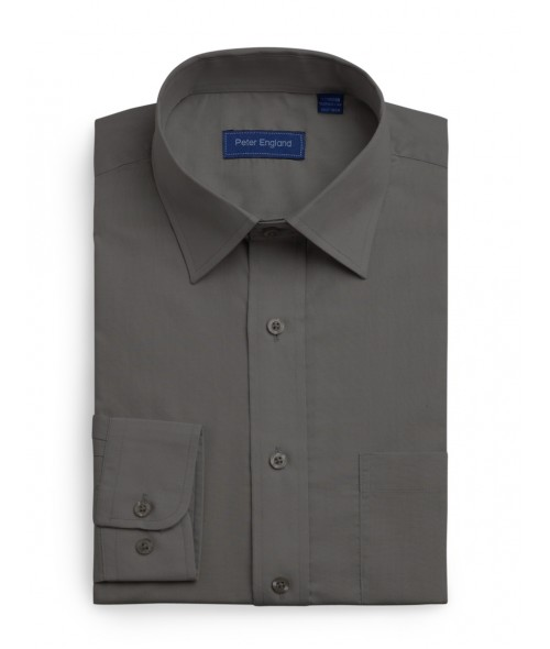 Peter England Plain Non Iron Shirt- Graphite Grey