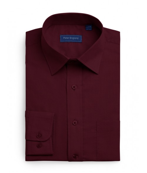 Peter England Plain Non Iron Shirt- Plum