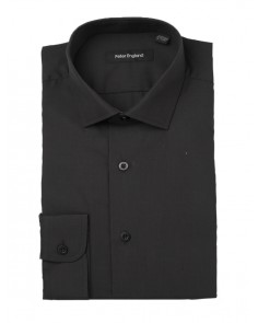 Peter England Tailored Fit Plain Non Iron Shirt- Black