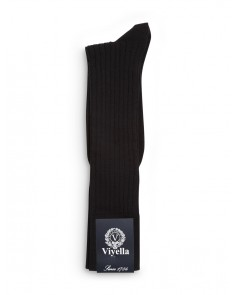 Viyella Short Wool Rich Rib Socks Black