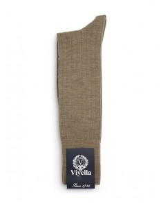 Viyella Short Wool Rich Rib Socks Fawn