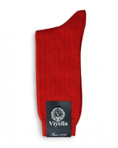 Viyella Short Wool Rich Rib Socks Poppy Red