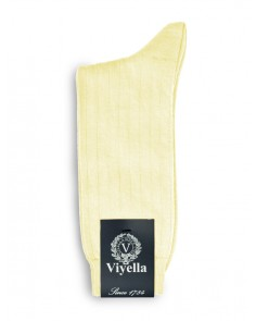 Viyella Short Wool Rich Rib Socks Lemon