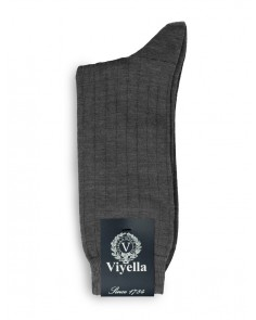Viyella Short Wool Rich Rib Socks Mid Grey