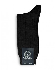 Viyella Short Wool Rich Rib Socks City Grey