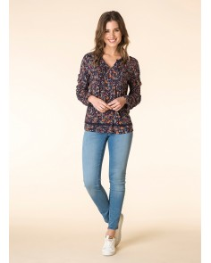 Deep Blue Print Blouse