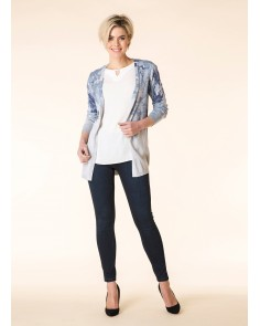 Camoflage Print Deep Blue & Grey Long Edge to Edge Cardigan