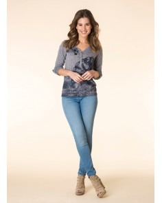 Grey & Deep Blue V/neck Top