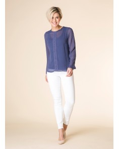 Indigo Spot and Lace Blouse