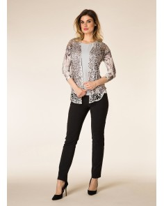Black & Cream Animal Print Cardigan