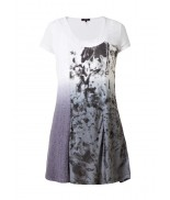 Ivessa White & Black Dip Dyed Tunic